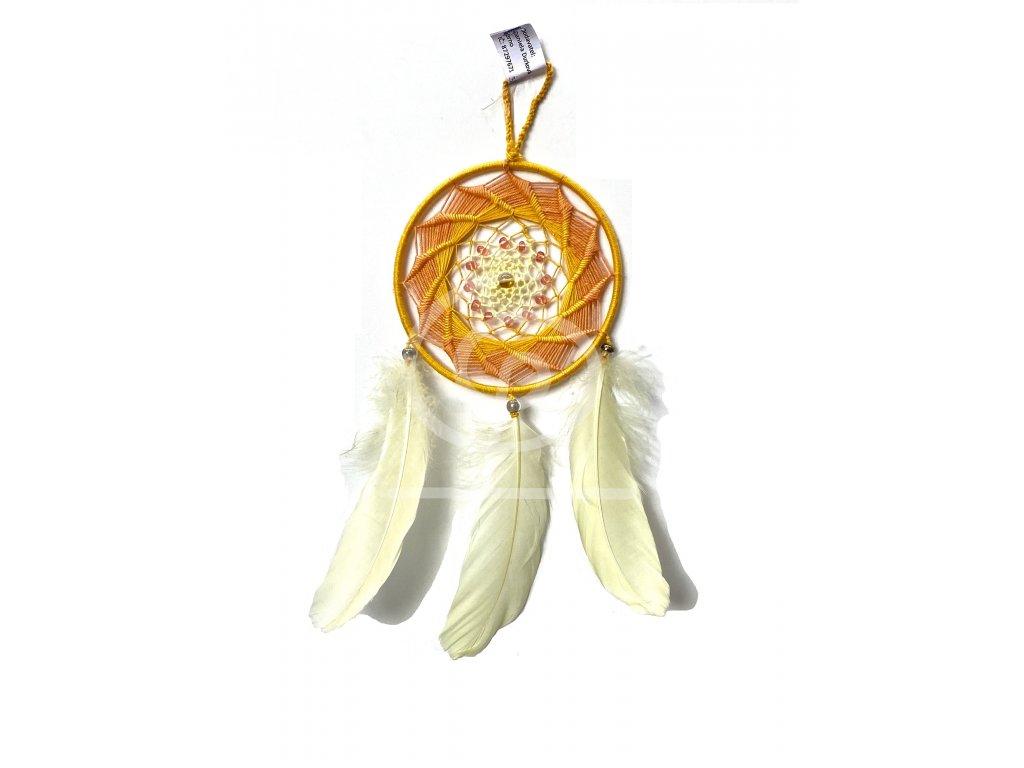 Lapač snů oranžovožlutý, 12 cm