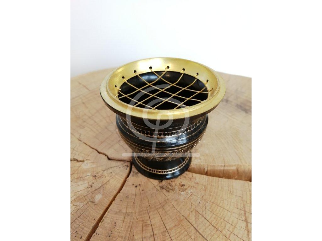 Miska k vykuřování se zlatými ornamenty, mosaz 6x6 cm
