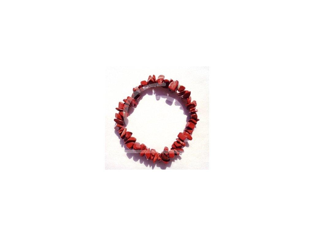 Náramek z tromlovaných kamenů - jaspis červený