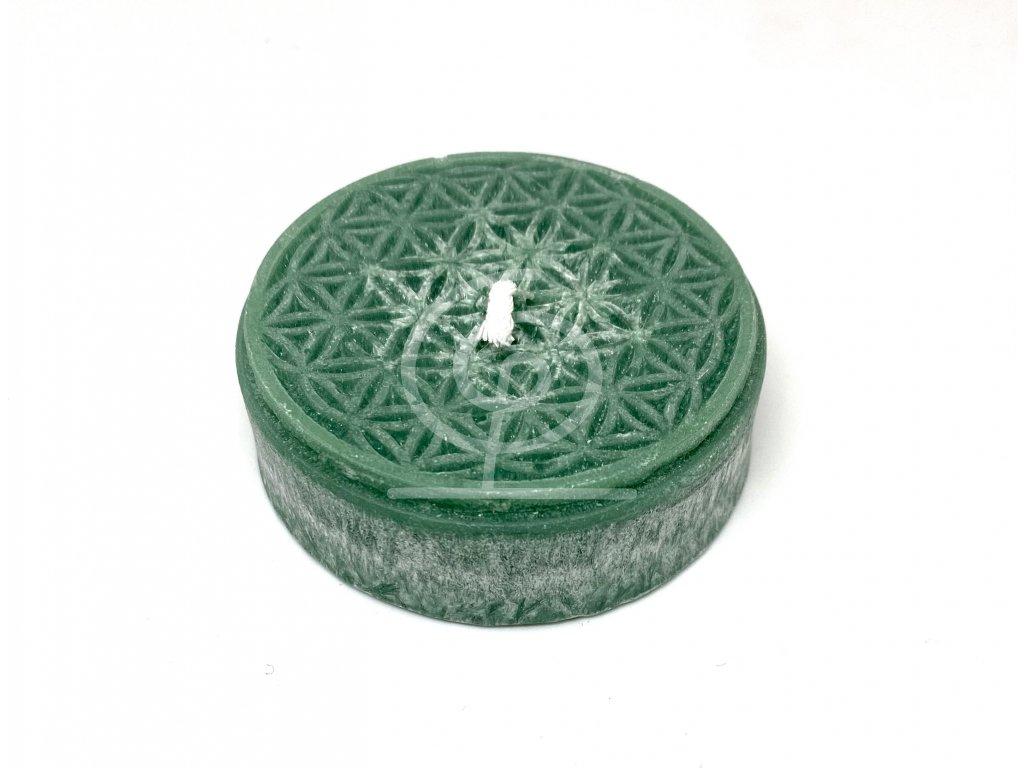 Svíce Květ života puk malý 2x6cm (tmavě zelená)