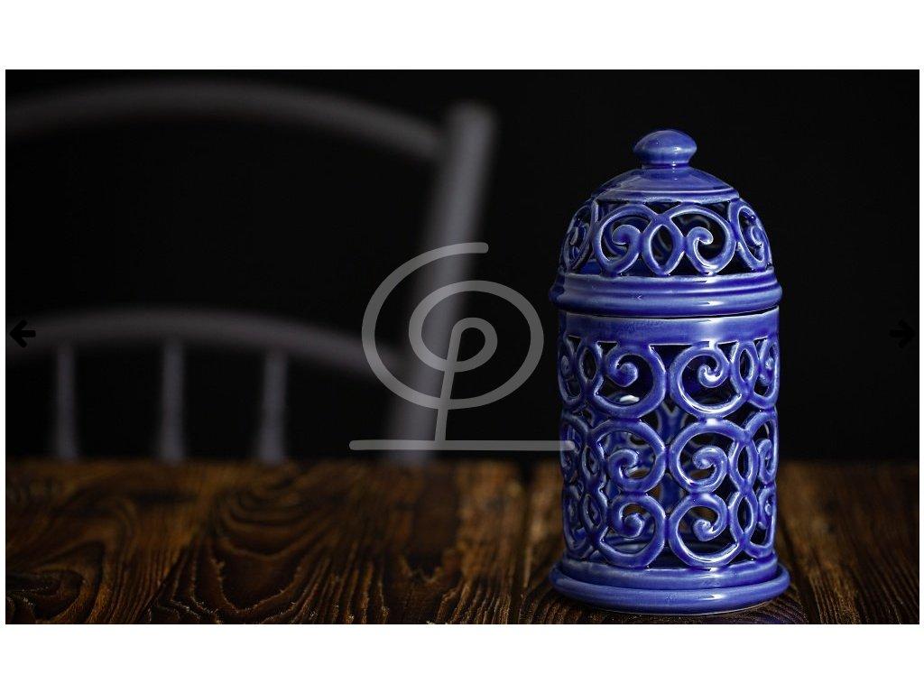 Aromalampa vyřezávaná Královská modř