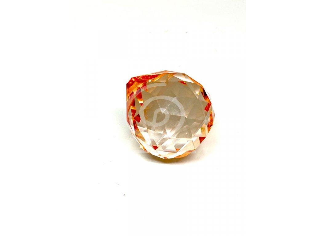Křišťálová oranžová koule na zavěšení - 40 mm