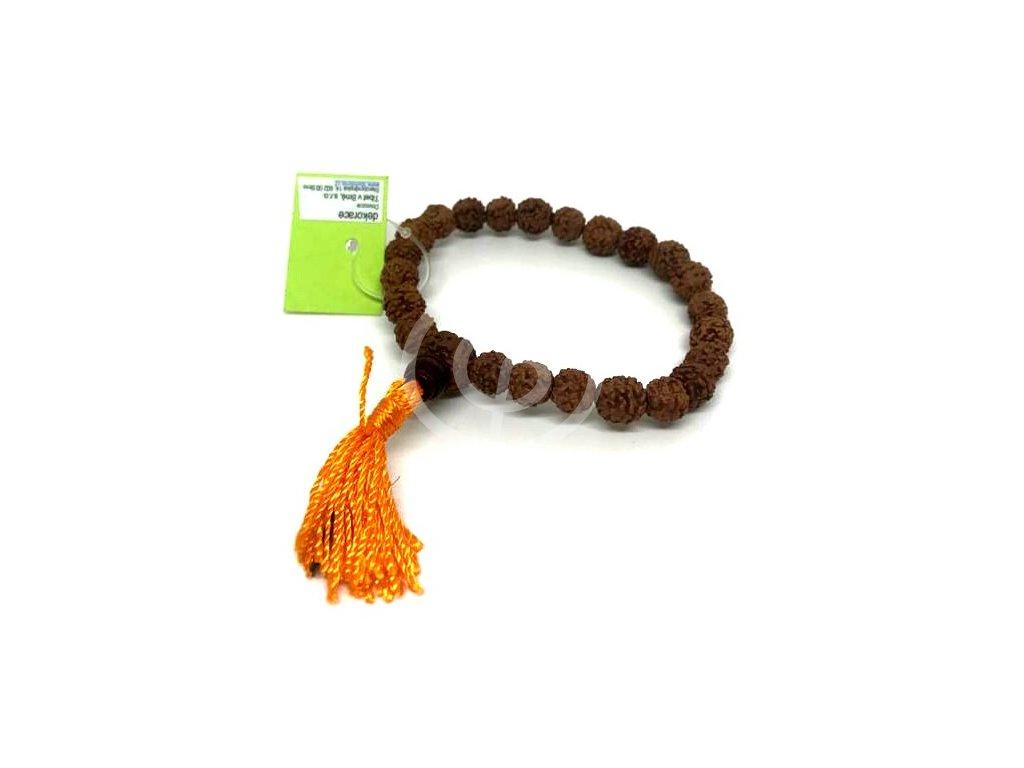 Japa Mala náramek - rudrakša oranžový 08 mm