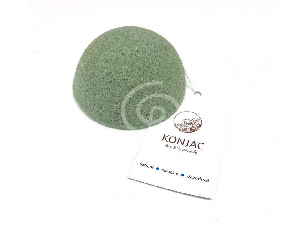 Konjac - Tmavě zelená houbička na obličej, bochánek