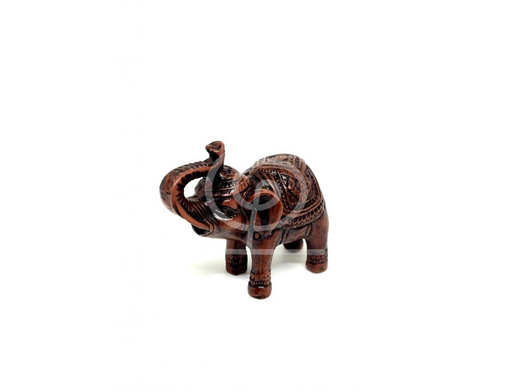 Soška Slon hnědý, pryskyřice 6 cm