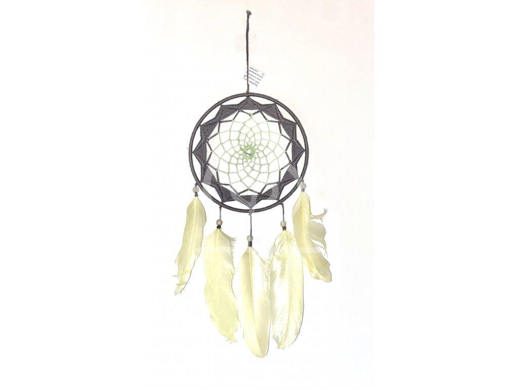 Lapač snů Šedožlutý, 15 cm