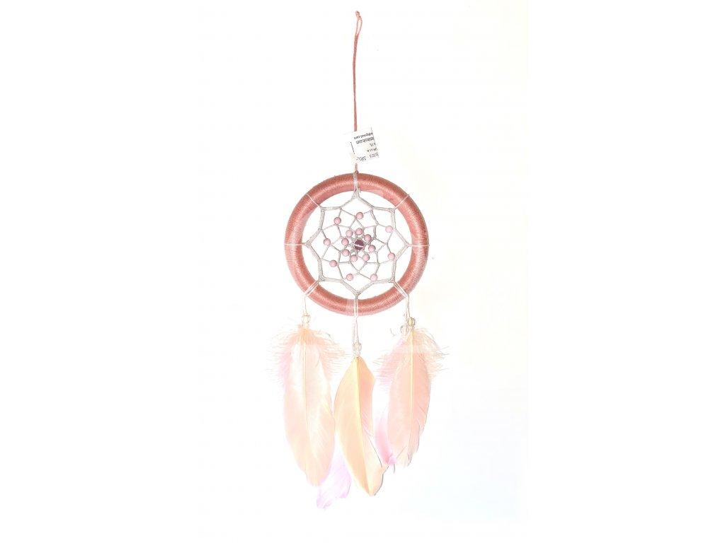 Lapač snů Růžový široký, 12 cm