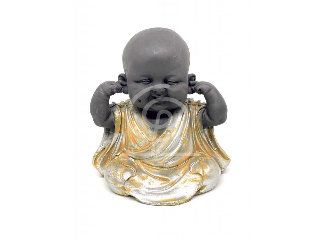 Soška resin Baby Buddha Hear no evil 14 cm
