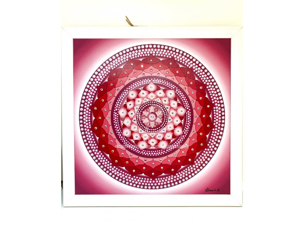 Obraz Mandala Sněhová vločka Pink krystaly 30x30 cm