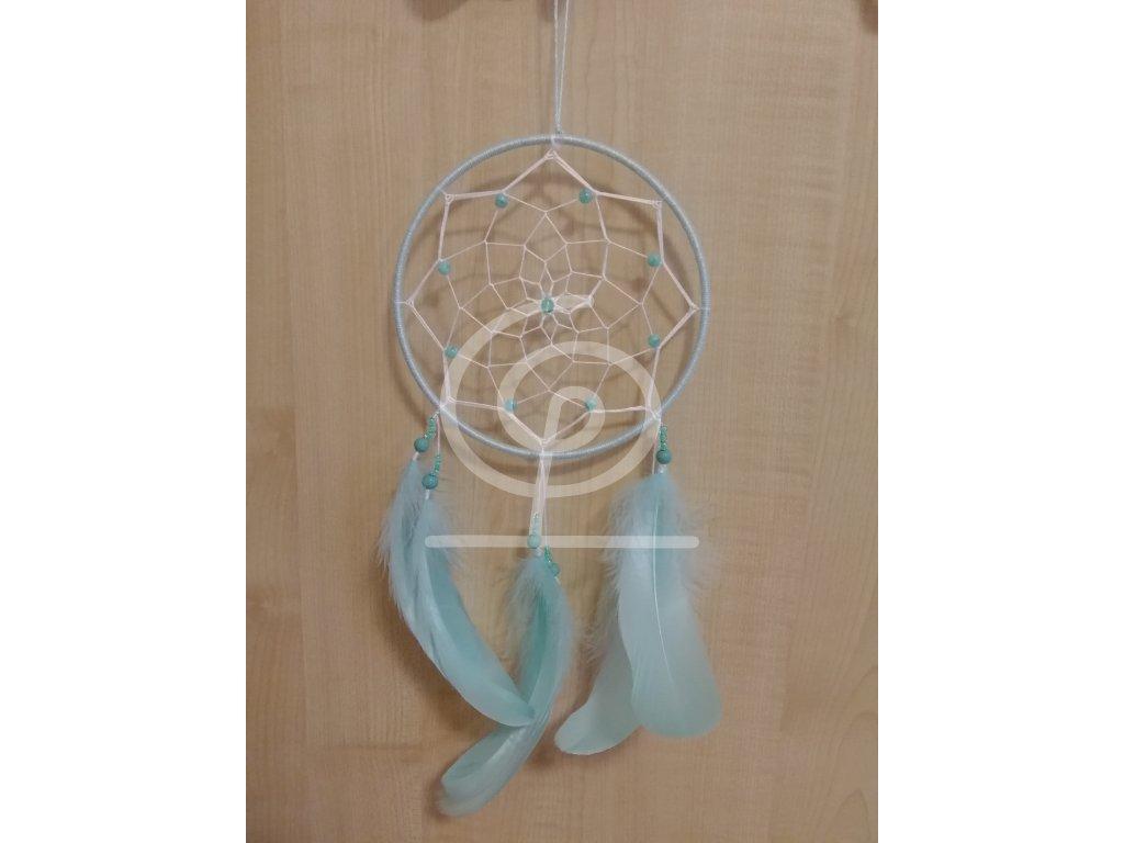 Lapač snů mintovobílý, 15 cm