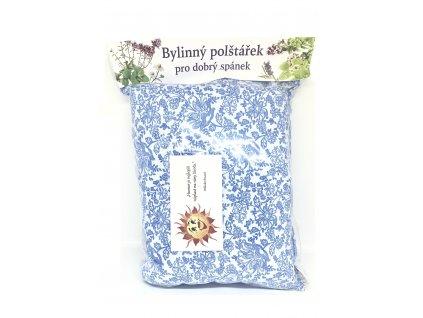 Pleva Bylinný polštářek bílý s modrými květy