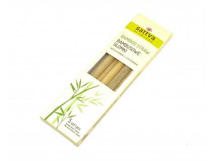Bambusová brčka s kartáčkem - set Sattva
