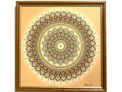 Obraz Mandala Hojnosti, krystaly prášené pravým zlatem 30x30cm