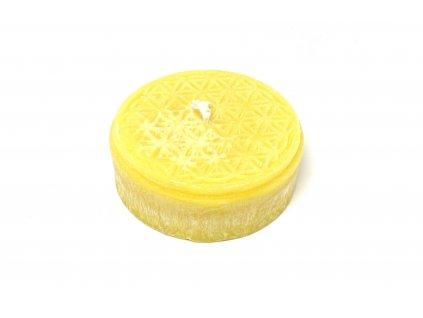Svíce Květ života puk malý 2x6cm (žlutá)