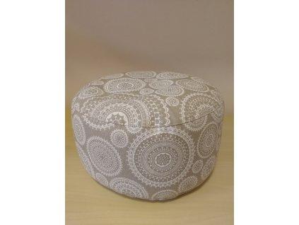 Meditační polštářek pohankový - béžový s bílými mandalami