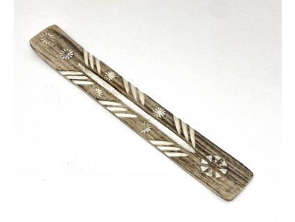 Stojánek na vonné tyčinky lyže - dřevěný vyřezávaný