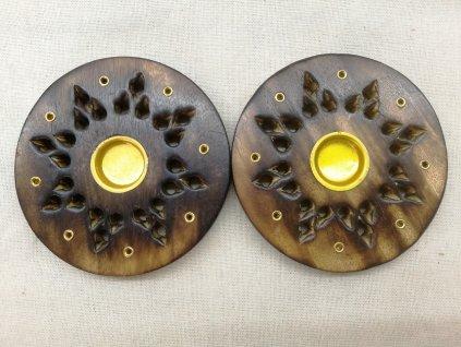 Stojánek na vonné tyčinky dřevěný - kulatý hvězdička 7,5 cm