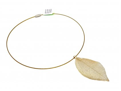 Přívěsek list na lanku - zlatý