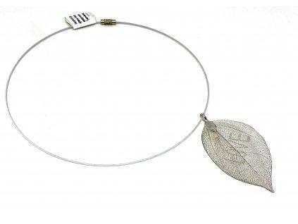 Přívěsek list na lanku - stříbrný