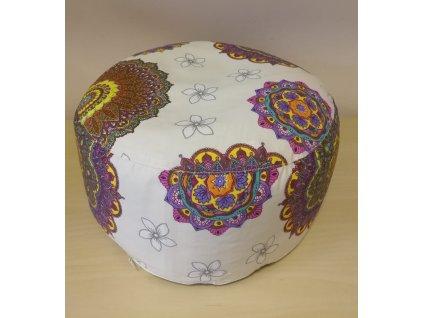 Meditační polštářek pohankový - béžový s bílými květy a barevnými mandalami