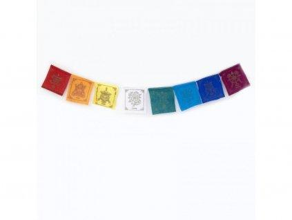 Tibetské modlitební vlaječky v1.2 Eight Auspicious 8x10 cm (8 ks)