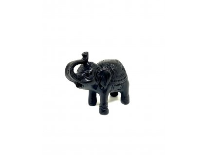 Soška Slon černý, pryskyřice 6 cm