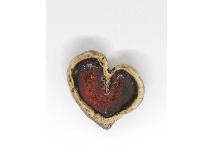 BAUBO Keramická miska na vykuřování (srdce červené asymetrické)
