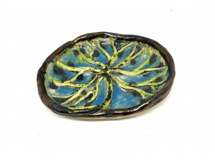 BAUBO Keramická miska na vykuřování (modrozelený strom)