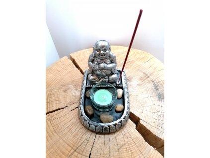 Svícen Buddha, 9x9 cm