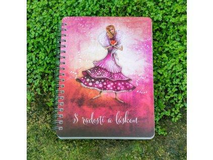 Zápisník B6 Lapač nápadů S radostí a láskou - linka