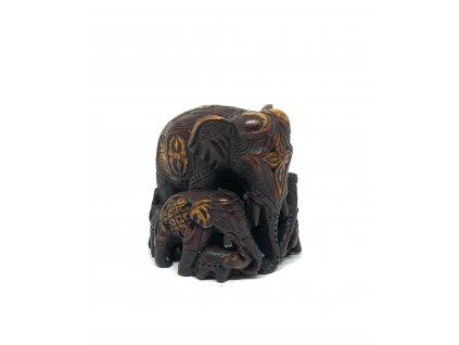 Soška Sloní rodina - dřevo