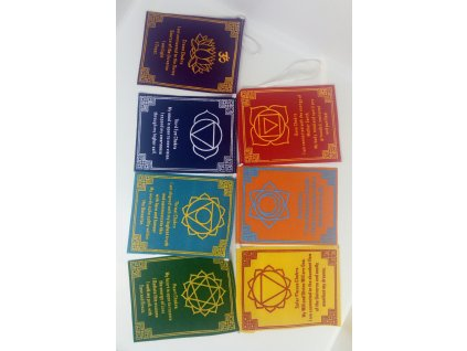 Tibetské modlitební praporky s čakrami 12x9 cm (7ks)
