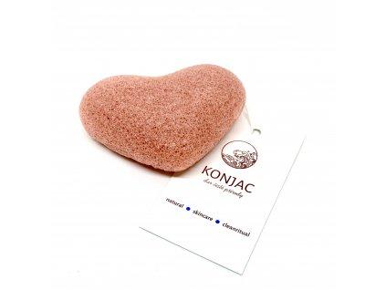 Konjac - Růžová houbička na obličej, srdce