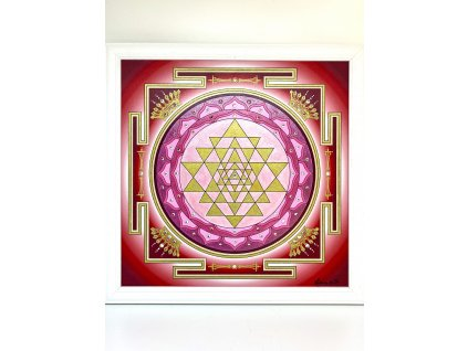Obraz Mandala Šrí Jantra Pink krystal 30x30cm