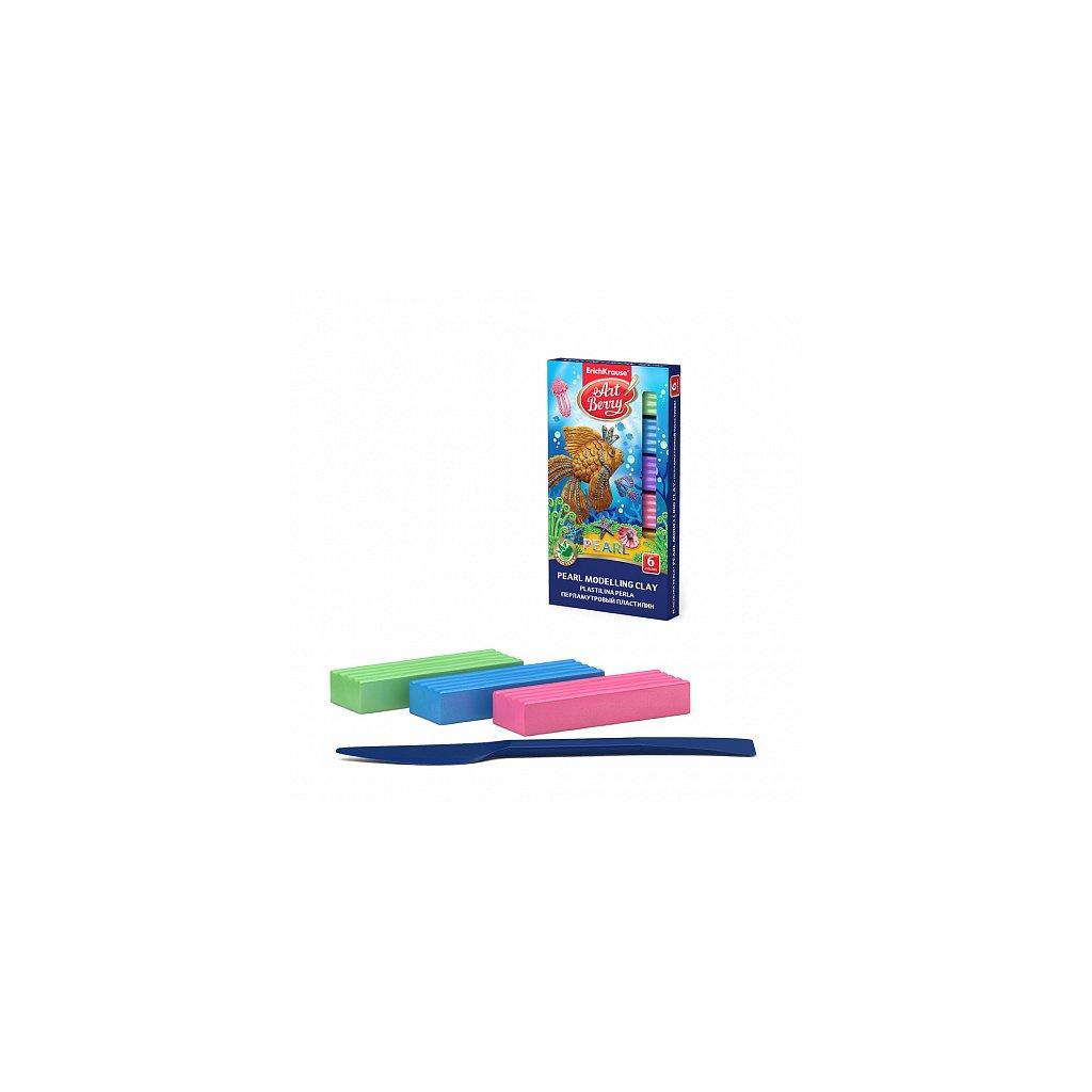 Modelína ERICH KRAUSE ArtBerry® Pearl s Aloe Vera, 6 barev, 90 g, s modelovacím nožíkem