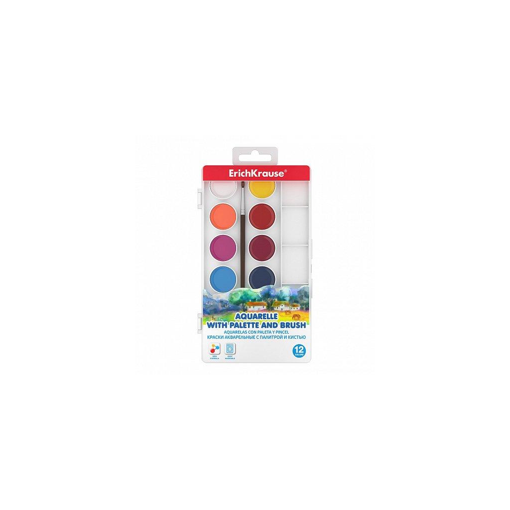 Vodové barvy ErichKrause® 12 barev, s paletkou a štětcem