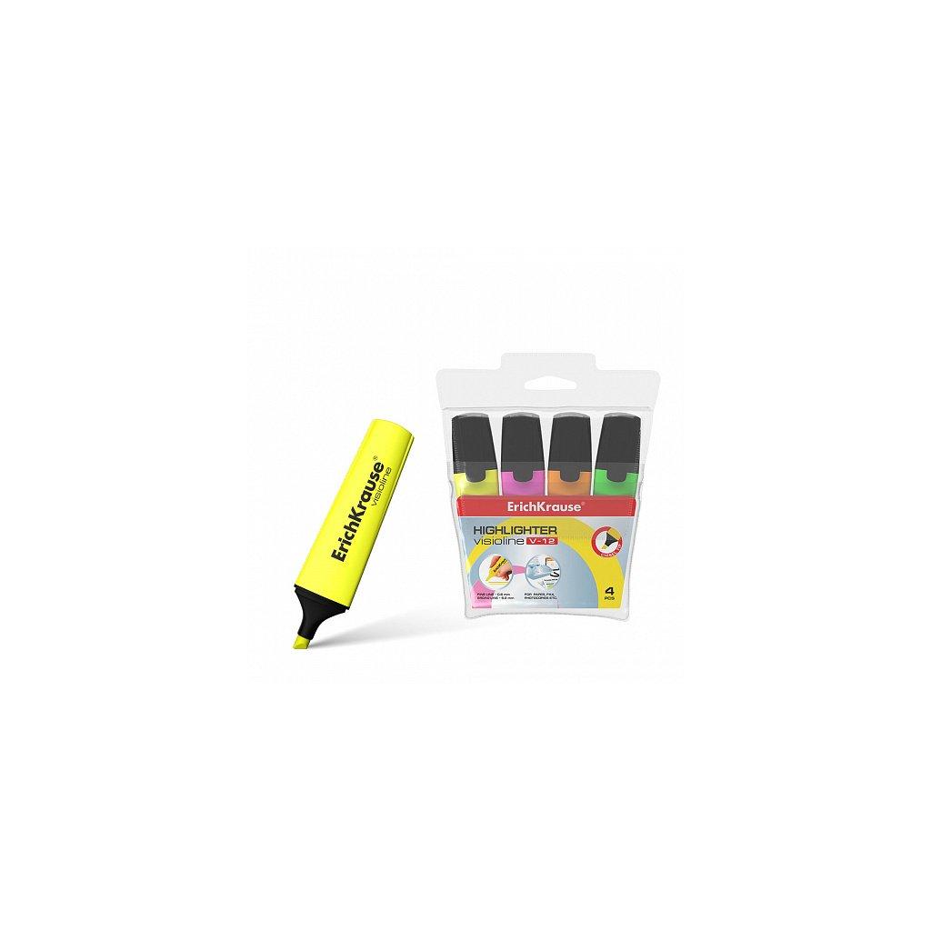 Sada 4ks zvýrazňovačů ErichKrause® Visioline, barvy: oranžová, růžová, zelená, žlutá