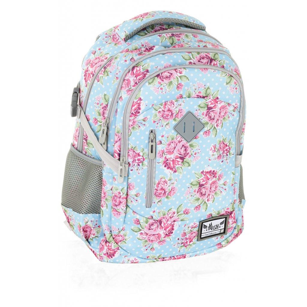 Tříkomorový školní / studentský batoh HS-01 Hash Rose
