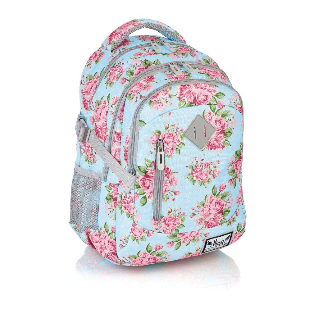 Tříkomorový školní batoh HS-19 Hash Rose