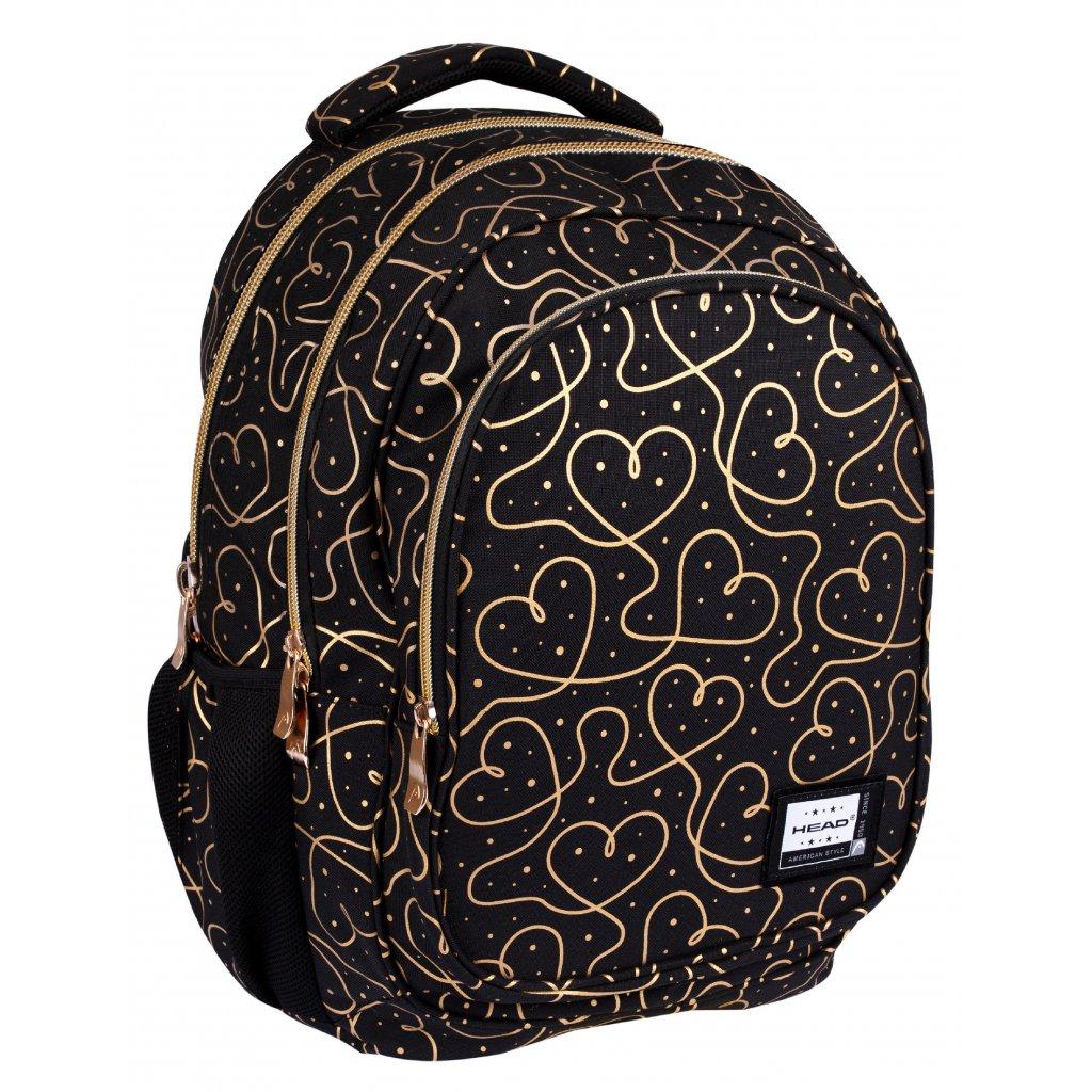 Tříkomorový školní batoh HEAD - GOLDEN HEARTS