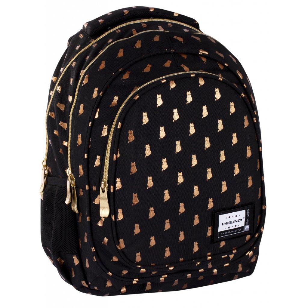 Tříkomorový školní batoh HEAD - GOLDEN KITTY