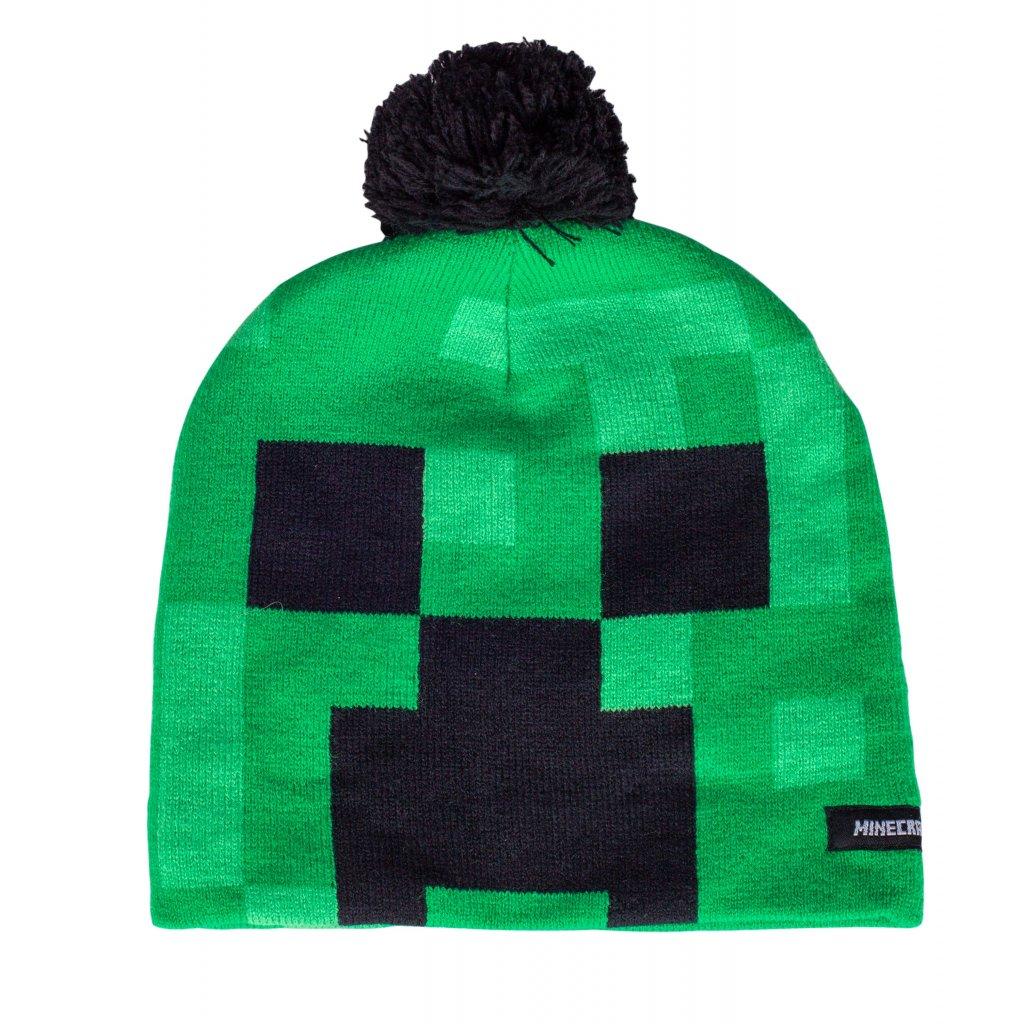 Zimní úpletová čepice MINECRAFT CREEPER - zelená