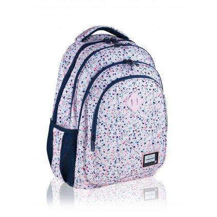 Čtyřkomorový školní batoh Pink Terrazzo Head 4