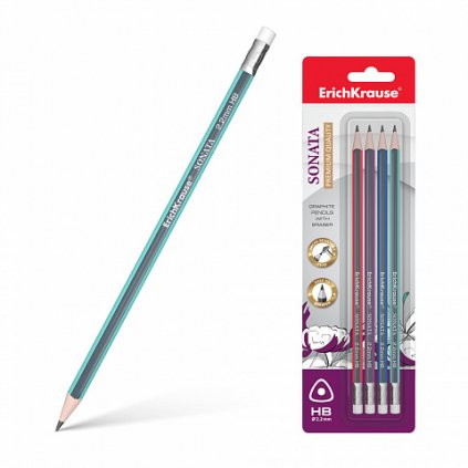 Trojhranné grafitové tužky s gumou ErichKrause® Sonata HB (v blistru 4 ks)