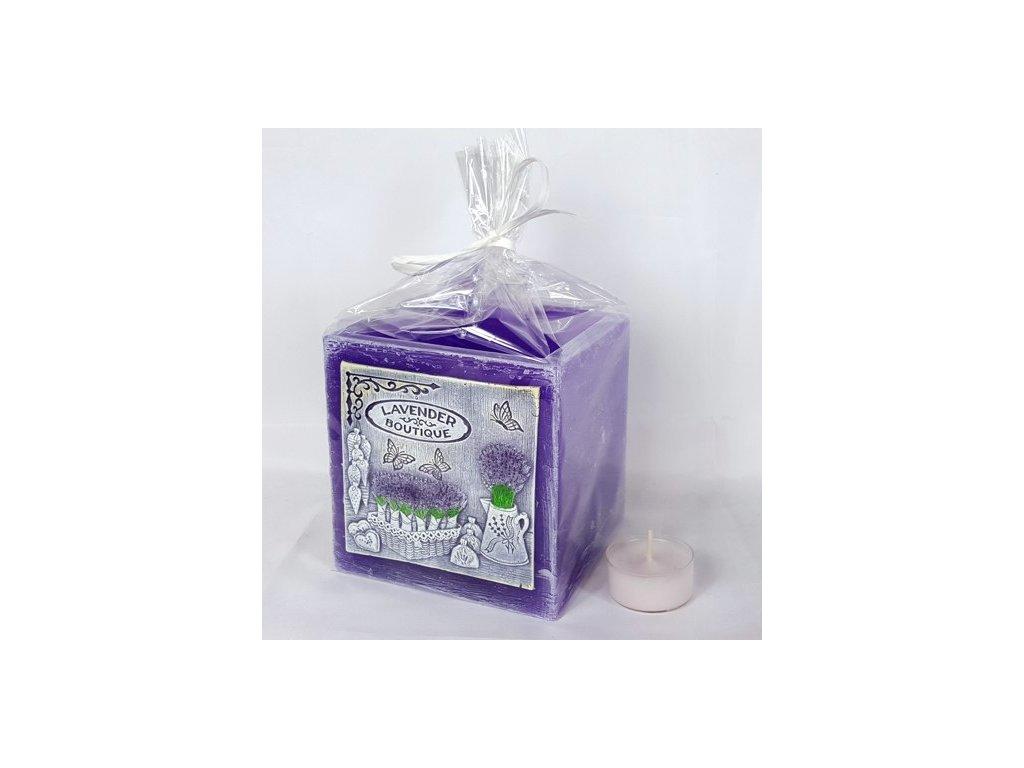 Svíčka Lavender Boutique Lamion kvádr 110x105mm