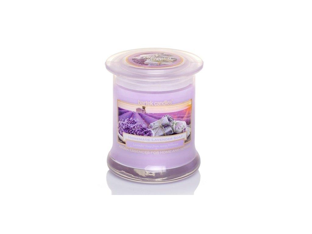 Svíčka s vůní levandule ve skleněné dóze s víčkem
