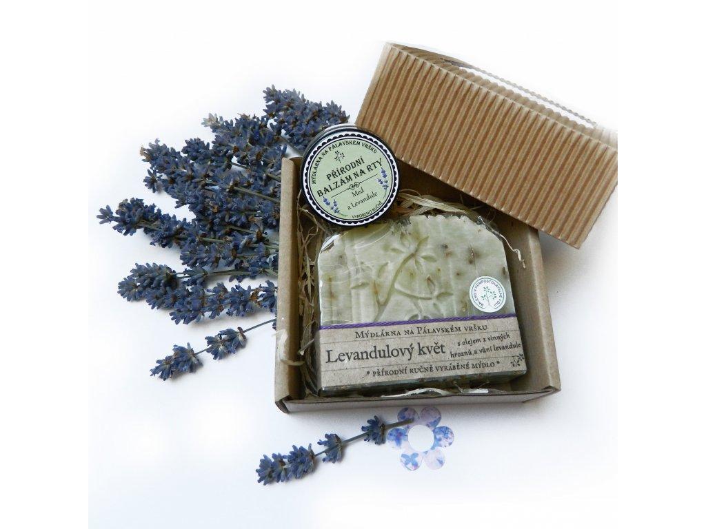 Dárková krabička s mýdlem a balzámem Levandule