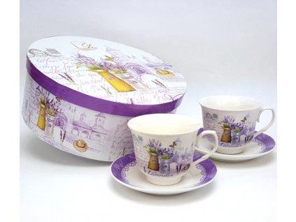 Sada porcelánových šálků s podšálkem a dekorem levandule