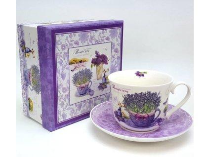 Porcelánový šálek 450 ml dekor levandule s podšálkem