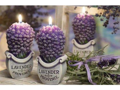 Levandulová svíčka v celofánu